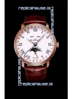 "Blancpain ""Villeret Quantième Complet"" 904L Steel Rose Gold Watch in White Dial"