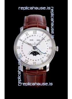 "Blancpain ""Villeret Quantième Complet"" 904L Steel Swiss Watch in Off-White Dial"
