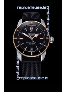 Breitling SuperOcean Heritage II 44MM Black Dial Two Tone 904L Rubber Strap 1:1 Mirror Replica