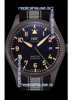 IWC Pilot's MARK XVIII Heritage 1:1 Swiss Watch 904L Steel Casing Black Matte Finishing