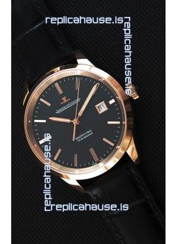 Jaeger LeCoultre Geophysic True Second Pink Gold Swiss Replica Watch Black Dial