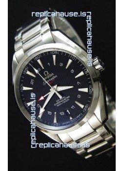 Omega Seamaster Aqua Terra GMT 150M 43MM 1:1 Mirror Replica Watch Black Dial