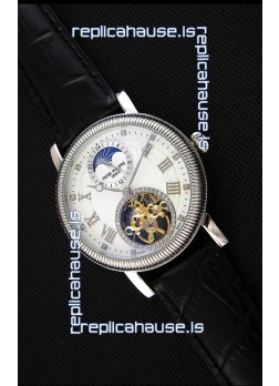 Patek Philippe Japanese MoonPhase Tourbillon Replica Watch White Dial