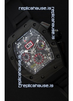Richard Mille RM011-FM Felipe Massa One Piece Black Forged Carbon Case Watch in Black Strap