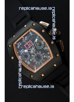 Richard Mille RM011-FM Felipe Massa Black Ceramic Case Watch in Black Strap