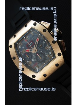 Richard Mille RM011-FM Felipe Massa Pink Gold Plated Titanium Case Watch in Black Strap