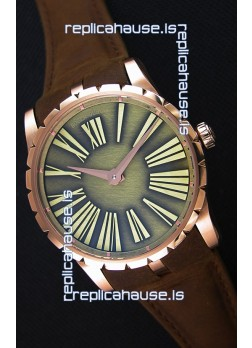 Roger Dubuis Excalibur Steel Case Green Dial Swiss Replica Watch