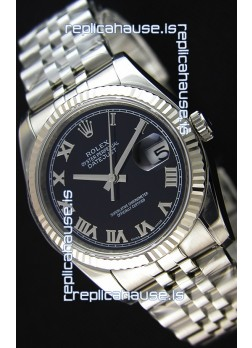 Rolex Datejust 36MM Cal.3135 Movement Swiss Replica Black Dial Jubilee Strap - Ultimate 904L Steel Watch