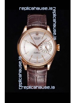 Rolex Cellini Date Ref#50515 Replica 1:1 Mirror Rose Gold 904L Steel Watch White Dial