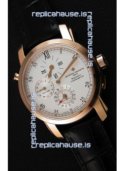 Vacheron Constantin Malte Dual Time Regulator Pink Gold Swiss Replica Watch