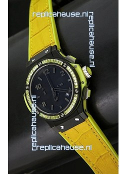 Hublot Big Bang All Black Edition Japanese Quartz Watch in Lemon Colour