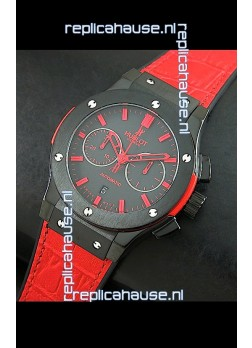 Hublot Big Bang Classic Fusion Swiss Replica PVD Watch in Red Strap