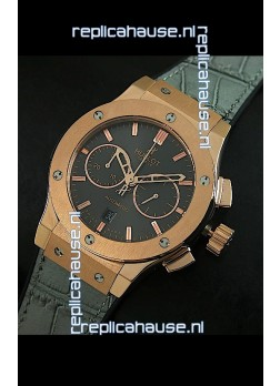 Hublot Big Bang Classic Fusion Swiss Replica Rose Gold Watch in Grey Strap