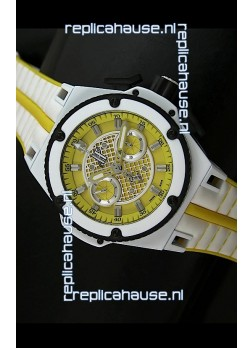 Hublot King Power Ferrari Edition Swiss Replica Watch - White/Yellow Strap