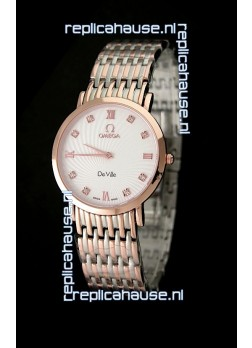 Omega DeVelie Japanese Replica Rose Gold Watch