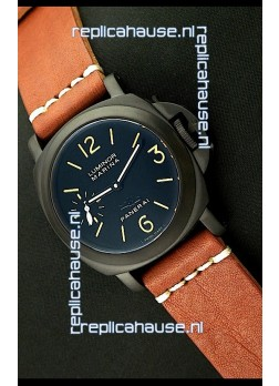 Panerai Luminor Marina Black Seal PVD Swiss Watch in Brown Strap