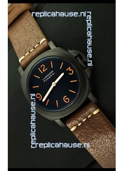 Panerai Luminor Marina Black Seal PVD Swiss Watch in Dark Brown Strap