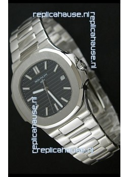 Patek Phillipe Nautilis Swiss Replica Watch in Black Textured Dial
