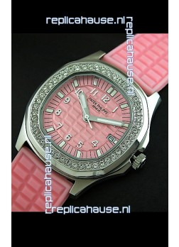 Patek Phillipe Nautilis Swiss Diamond Replica Watch in Pink Dial