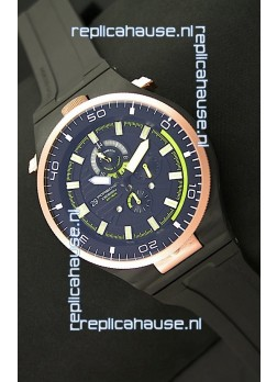 Porsche Design Diver Japanese Replica PVD Watch in Gold Bezel