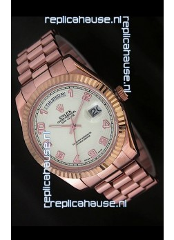 Rolex Day Date Swiss Replica Steel Watch in Arabic Markers