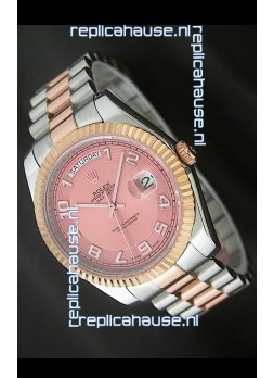 Rolex Oyster Perpetual Day Date II Swiss Replica Watch in Pink Dial