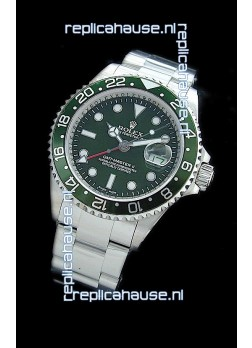 Rolex GMT Master II Swiss Replica Steel Watch in Green Dial