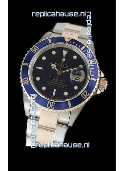 Rolex Submariner Swiss Watch in Blue Bezel Two Tone Case
