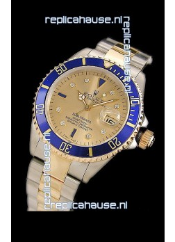 Rolex Submariner Oyster Perpetual Japanese Replica Two Tone Gold Watch in Blue Bezel