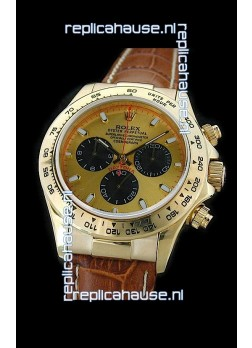 Rolex Daytona Cosmograph Swiss Replica Gold Watch in Brown Strap