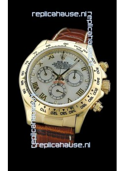 Rolex Daytona Cosmograph Swiss Replica Gold Watch in Roman Hour Markers