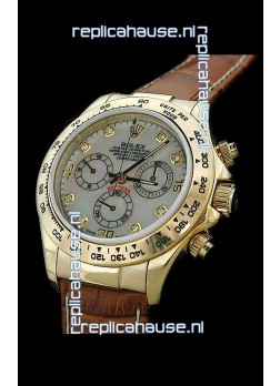 Rolex Daytona Cosmograph Swiss Replica Gold Watch in Mother of Pearl Dial
