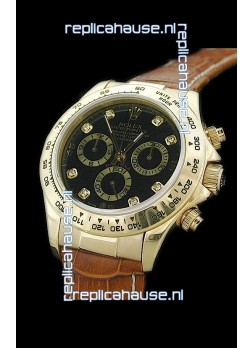 Rolex Daytona Cosmograph Swiss Replica Gold Watch in Diamond Hour Markers