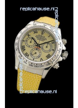 Rolex Daytona Cosmograph Swiss Replica Steel Watch in Yellow Pearl Dial