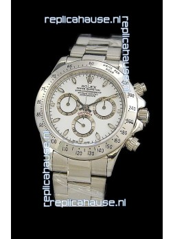 Rolex Daytona Cosmograph Swiss Replica Steel Watch in White Dial