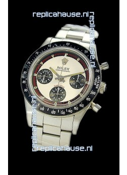 Rolex Daytona Paul Newman Edition Replica Steel Watch in White Dial