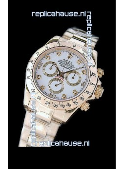 Rolex Daytona Cosmograph Swiss Replica Gold Watch in White Dial