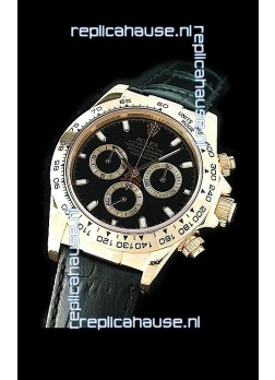Rolex Daytona Cosmograph Swiss Replica Gold Watch in Black Leather Strap