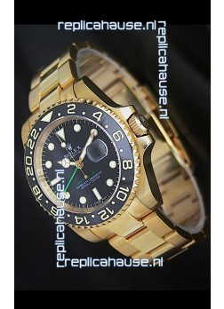 Rolex GMT Master II Swiss Replica Gold Watch in Black Dial