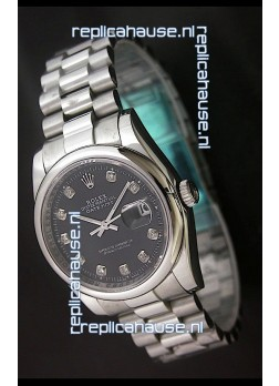 RolexDatejust Oyster Perpetual Diamonds Swiss Watch in Black Dial