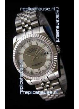 Rolex Datejust Mens Swiss Replica Watch in White & Grey Dial