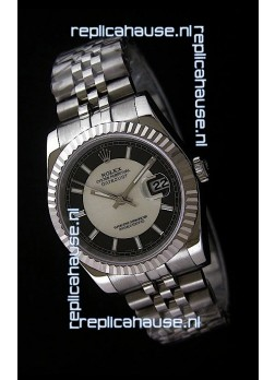Rolex Datejust Mens Swiss Replica Watch in Black & White Dial