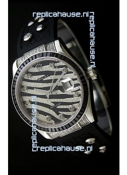 Rolex Datejust Mens Japanese Replica Leopard Watch in Diamand Markers