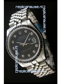 Rolex Datejust Swiss Replica Automatic Watch in Black Dial