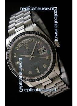 Rolex Day Date 2008 Swiss Replica Watch in Mop Black Dial