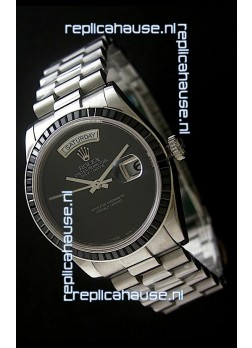 Rolex Day Date 2008 Swiss Replica Watch in Full Black Dial