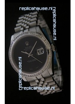 Rolex Datejust Swiss Replica Watch in Full Black Dial