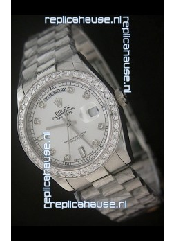 Rolex Day Date Just Japanese Replica Watch in Full Diamond Bezel