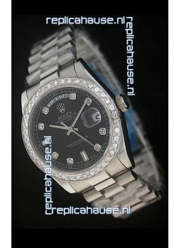 Rolex Day Date Just Japanese Replica Black Watch in Full Diamond Bezel
