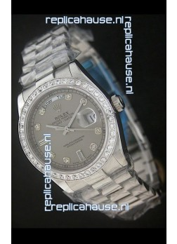 Rolex Day Date Just Japanese Replica Grey Watch in Full Diamond Bezel